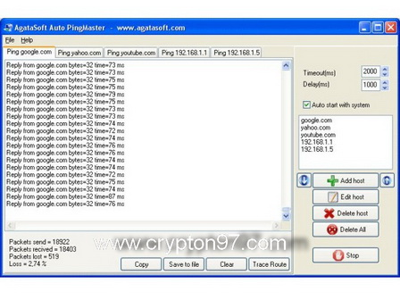 PingMaster www.crypton97.com Ping Master   Free software that allows you to check the status of Internet connection you use