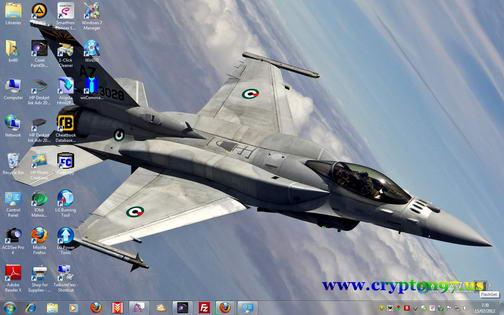 Themes windows 7 dengan nuansa pesawat jet tempur F16