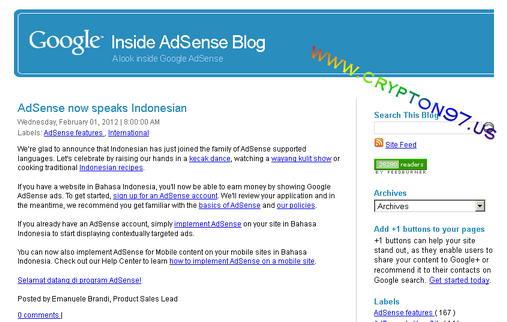 Akhirnya penantian yang panjang, awal bulan februari 2012 adsense dukung bahasa indonesia