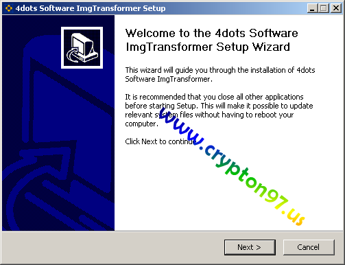 Welcome to the 4dots software ImgTransformer setup wizard