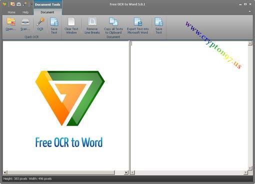 tampilan antar muka dari perangkat lunak Free OCR to Word