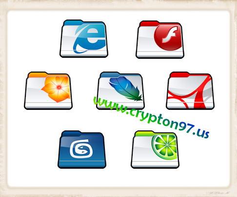 50 (lima puluh) gambar dokumen folder icons dengan simbol atau logo dari perangkat lunak komputer