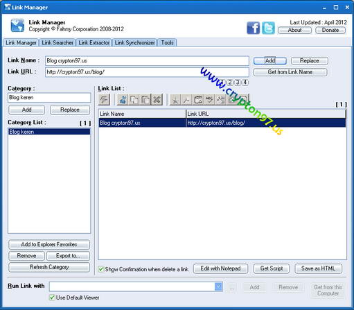 Link Manager interface