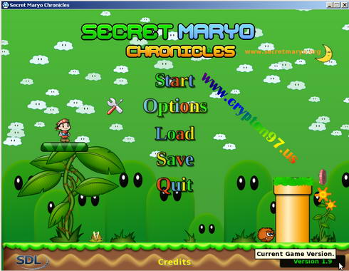 Secret Maryo Chronicles menu options