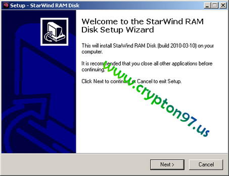 Welcome to the starwind Ram Disk setup wizard