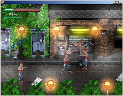 Tampilan antarmuka dari games Street Karate 2 yang sedang dimainkan