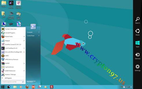 tampilan desktop windows 7 yang saya rubah menjadi tampilan desktop windows 8 dengan menggunakan software Windows 8 Transformation Pack 4.0