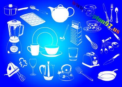 Paket lengkap gambar icon vector gratis EPS bergambar peralatan dapur, makanan dan alat memasak