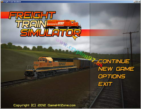 Menu games Freight Train Simulator : New game, continue, options dan exit