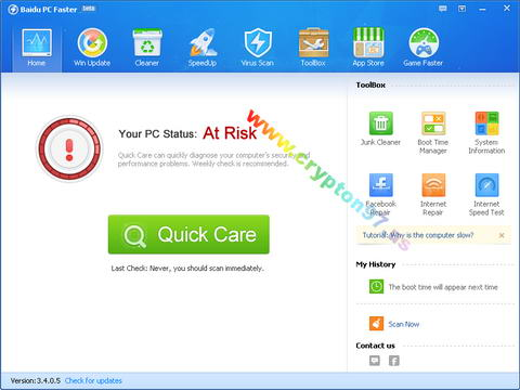 Baidu PC Faster Interface ( antarmuka )
