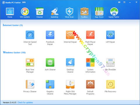 Tab Menu Toolbox Baidu PC Faster