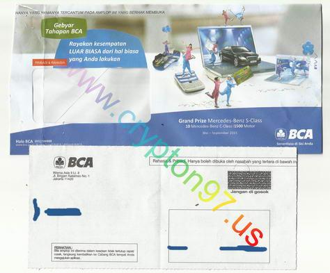 Amplop surat KeyBCA baru