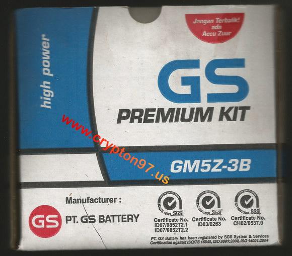 Aki GS Premium Kit GM5Z-3B Astra otoparts pengganti Yuasa YB5L-B