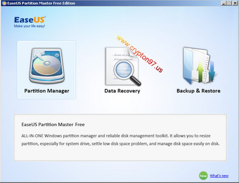 Partition Manager using Easeus Partition Master Free Edition